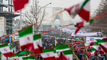 Iranians fill the street leading to the Azadi Tower during celebrations marking the 40th anniversary of the Islamic revolution in Tehran on February 11.