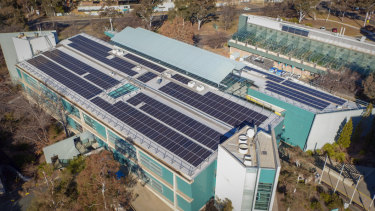 Solar panels on the roof of the CSIRO Discovery Building at Black Mountain, after the first phase of installation earlier in 2018.