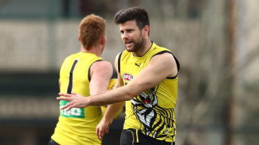 Safety first: Trent Cotchin at training this week.