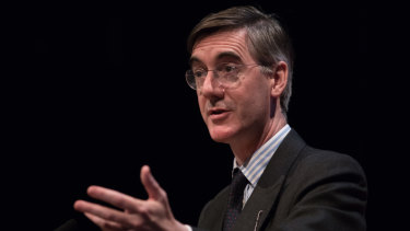 Jacob Rees-Mogg speaks at the Conservative Party annual conference in Birmingham.