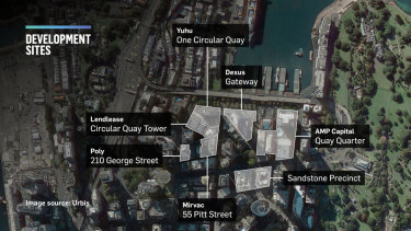 Circular Quay redevelopment with AMP Capital, Lendlease, Mirvac and Yuhu projects.