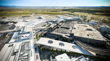 An artist's impression of how Melbourne Airport will look, with the proposed rail station at the bottom of the image.