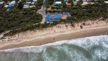 An aerial view of the Inverloch surf beach, one of Victoria's major sand dune erosion trouble spots.