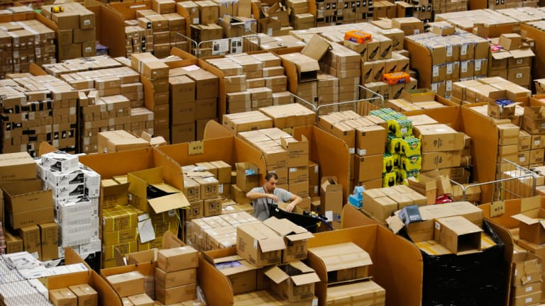 Amazon's fulfilment centre in Peterborough, UK.