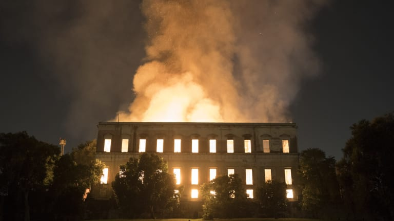 Flames engulfed the 200-year-old National Museum of Brazil on Sunday evening.