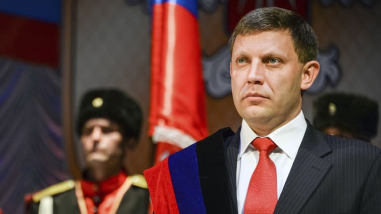 Rebel leader Alexander Zakharchenko stands for his swearing in ceremony in Donetsk in November 2014.
