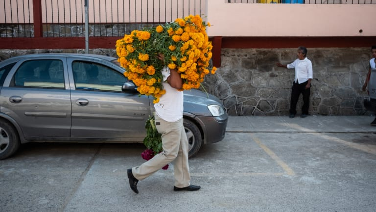 A person carries marigold flowers during Day of the Dead celebrations in Axtla de Terrazas, Mexico.