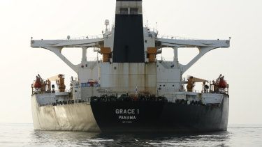 Impounded Iranian crude oil tanker Grace 1 anchored off the coast of Gibraltar on July 20.