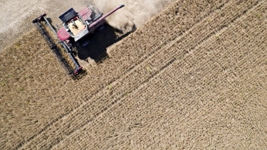 Soybeans being harvested in Illinois, US. China is the world's largest importer of soybeans.