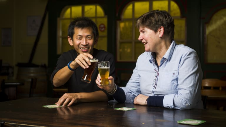 Dr Steve Lee and associate professor Elizabeth Gardiner, who met up for a beer and came up with the idea for a diagnostics device that can help doctors identify patients at imminent risk of a heart attack or stroke.