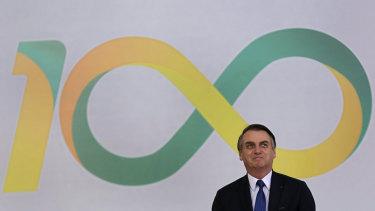 Brazilian President Jair Bolsonaro attends a ceremony marking his first 100 days in office in Brasilia, last week.