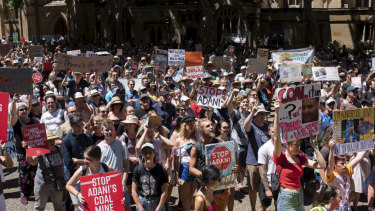 A climate protest outside Sydney Town Hall earlier this month.