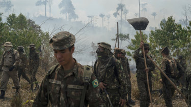 Brazilians soldiers were sent to fight fires in the Nova Fronteira region of Novo Progresso in Brazil on Tuesday.