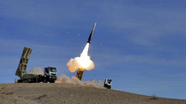 File photo: A Sayyad 2 missile is fired by the Talash air defense system during drills in an undisclosed location in Iran in November.