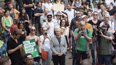 Independent MP for Wentworth Dr Kerryn Phelps at the pill testing rally at Town Hall.
