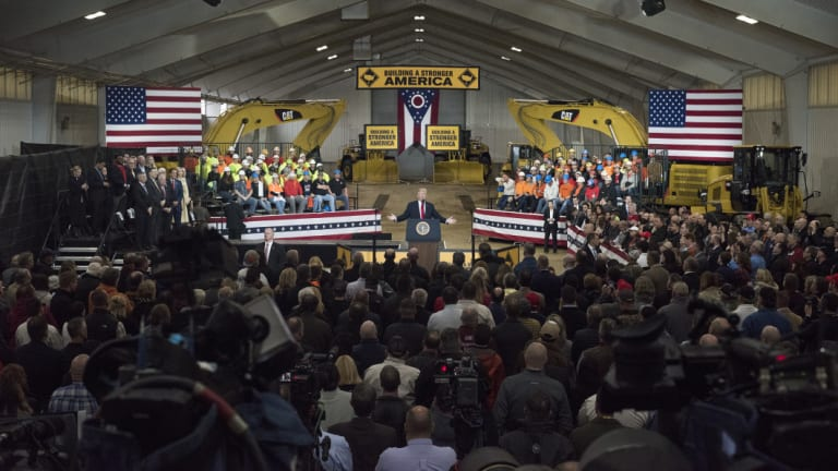 Trump speaking at an event at in Richfield, Ohio.