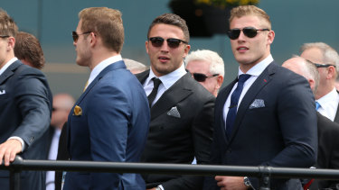 Tight knit: Thoroughbred Burgess brothers, Tom, Sam and George at the races.
