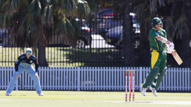 David Warner evades a bouncer as Steve Smith waits in the slips.
