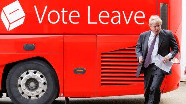 Boris Johnson arrives on the infamous 'Brexit bus' during the 2016 referendum campaign.