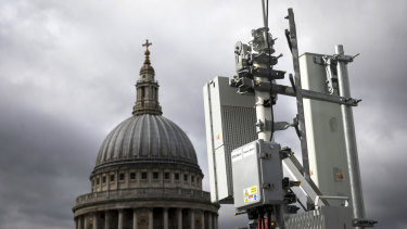 An array of 5G masts installed on a rooftop overlooking St. Paul's Cathedral by EE the wireless network provider, owned by BT Group Plc, during trials in the City of London.