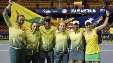 Australia enjoy their triumph over the US in February.