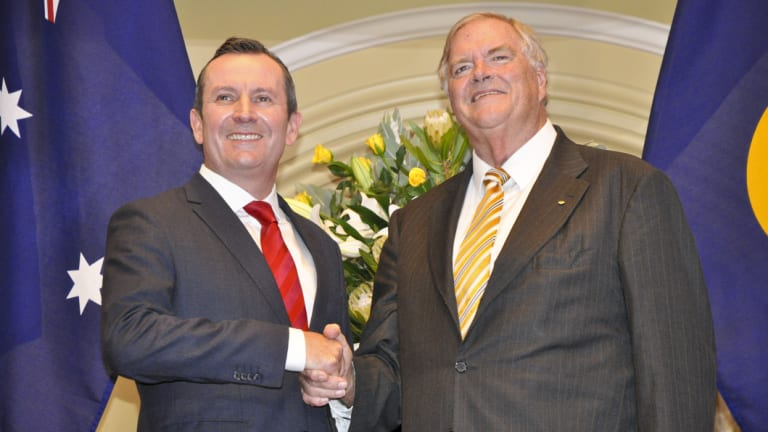 WA Premier Mark McGowan and the state's new governor, Labor stalwart Kim Beazley.