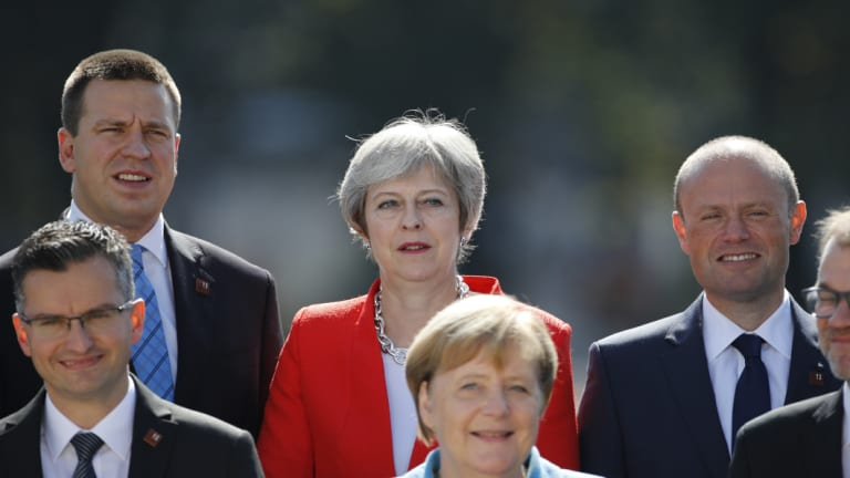 Smiling assassins: European leaders met for a tense summit in Salzburg this week, largely killing off Theresa May's Brexit plan.