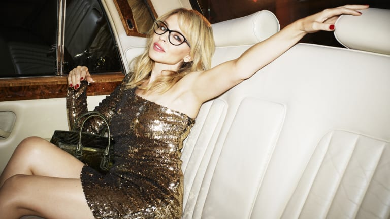 Kylie Minogue, wearing her latest collection for Specsavers, spoke to Fairfax Media about her 50th birthday plans.
