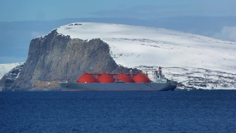 An LNG tanker sits at anchor outside Hammerfest, northern Norway, last year.