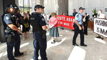 The protest shut down the foyer of 1 William Street.