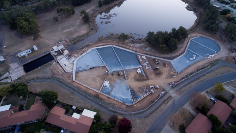 Aerial photograph taken in May of the rain garden being built at Isabella Plains, next to Upper Stranger Pond, to improve water quality in Lake Tuggeranong.