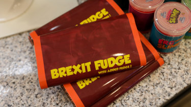Bars of 'Brexit Fudge' sit on display at the 'Costupper' Brexit Minimart pop-up store, set up by the People's Vote campaign group, in London,  on Friday.