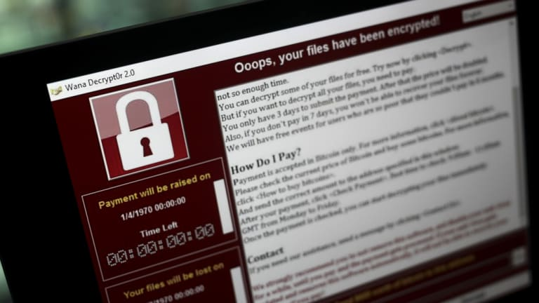 A lock screen on a computer in London during the May 2017 WannaCry ransomware attack, which affected governments and companies around the world.
