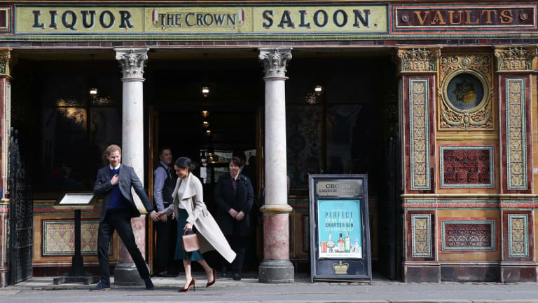 Prince Harry and Meghan Markle at Belfast's Crown Liquor Saloon in March.