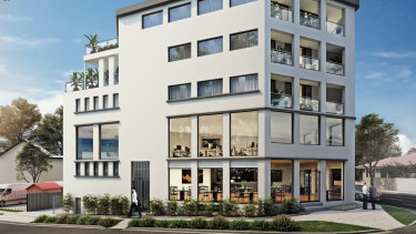 Artist impression of potential mixed-use strata building project at 41 Military Road, Neutral Bay, Sydney.