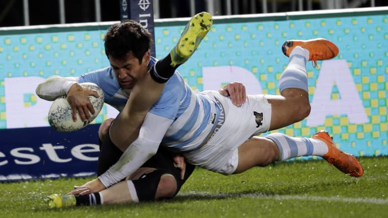 Attack-minded: The Pumas were impressive against the All Blacks but fell away in the second half.