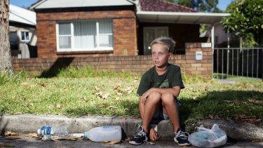 Tom, 9, a youngster who recycles along the northern beaches.