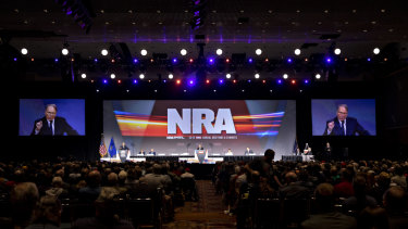 CEO of the NRA, Wayne LaPierre, speaks during the organisation's annual meeting of members in Indianapolis on Friday.