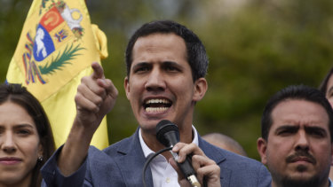 Juan Guaido, president of the National Assembly who swore himself in as the leader of Venezuela, speaks during a rally to propose amnesty laws for police and military, in the Las Mercedes neighbourhood of Caracas, Venezuela, on Saturday.