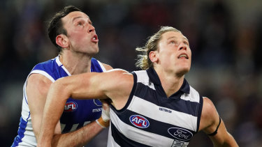 The Cats played Blicavs in the ruck against the Roos.