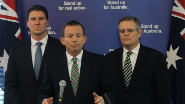 Tony Abbott with Cory Bernardi (left) and Scott Morrison in 2010.