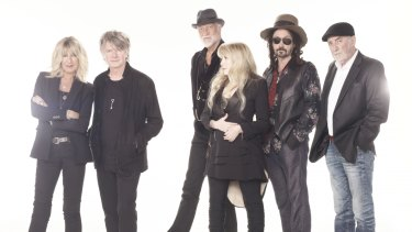 The new-look Fleetwood Mac with Neil Finn (second left) and Mike Campbell (second right).