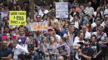 Protesters at the pill testing rally in Sydney.
