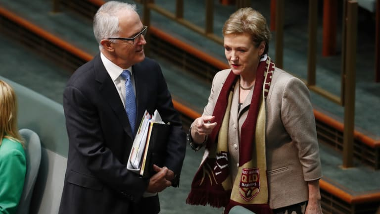 Prime Minister Malcolm Turnbull and Jane Prentice pictured during Question Time in 2017.
