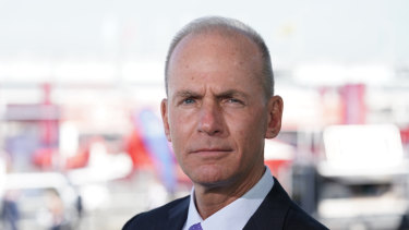 Dennis Muilenburg, chief executive officer of Boeing, being interviewed at the Paris air show.