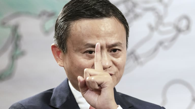 Jack Ma, chairman of Alibaba Group Holding Ltd., speaks during a Bloomberg Television interview on the sidelines of the Xin Philanthropy Conference last week.