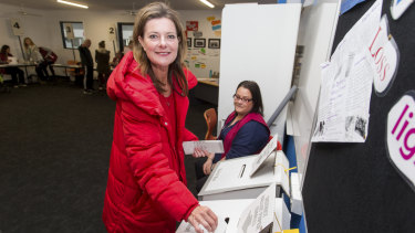 Carrum Labor MP Sonya Kilkenny, who snatched the seat from the Liberals in 2014, cast her vote at Carrum Downs Secondary College.