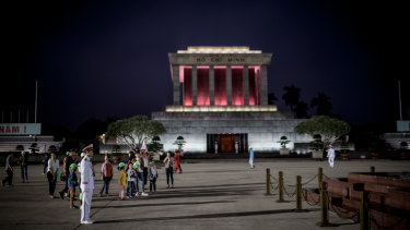 A soldier stands guard in front of the Ho Chi Minh Mausoleum at Ba Dinh Square in February.