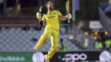 Australia's David Warner celebrates after scoring a century against South Africa.