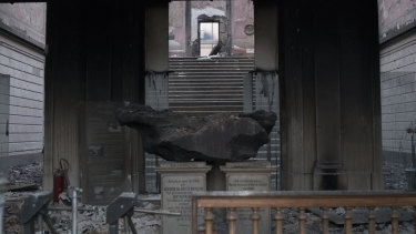 A five-tonne meteorite remains inside the entrance of the National Museum on Monday, following a fire that gutted the 200-year-old institution.